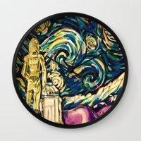 starwars Wall Clocks featuring StarWars Night by Fknjedi1