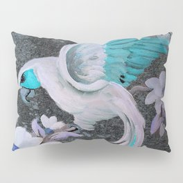 PARROT AND MAGNOLIA IMPRESSION IN BLUE AND LILAC Pillow Sham