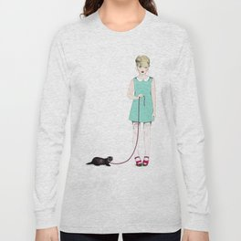 The girl with the ferret Long Sleeve T-shirt