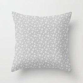 Festive Silver Grey and White Christmas Holiday Snowflakes Throw Pillow