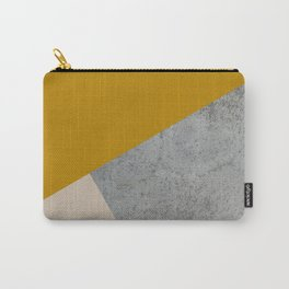 MUSTARD NUDE GRAY GEOMETRIC COLOR BLOCK Carry-All Pouch