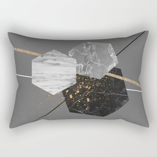 Marble Exagons and Gold Rectangular Pillow
