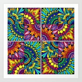 Color Block Puzzle Mandalas Art Print