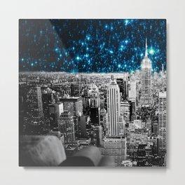 New York City Teal Starry Night Metal Print