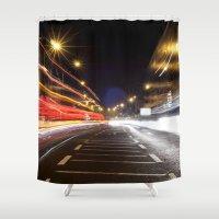 dublin Shower Curtains featuring Traffic, Dublin by Jennifer Hynes