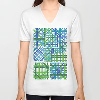plaid V-neck T-shirts featuring Plaid by Smiley's Dreamboat