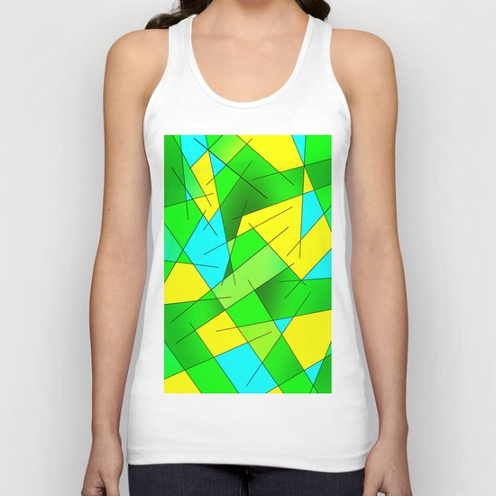 ABSTRACT LINES #1 (Greens, Yellow, Light Blue-Aquamarine) Unisex Tank Top