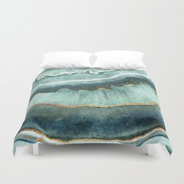 Gold Turquoise Agate Duvet Cover