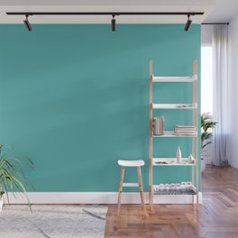 Solid Color Dark Pastel Teal Pairs to Pantone 15-5217 Blue Turquoise Wall Mural