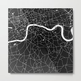 London Black on White Street Map Metal Print