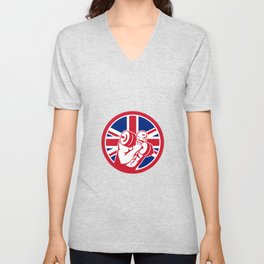 British Gym Circuit Union Jack Flag Icon Unisex V-Neck