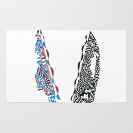 Letter V, Black/Red/Blue Abstract (Ink Drawing) Rug