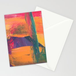 Abstract Art Colorful Vibrant Strong Brush Strokes Stationery Cards