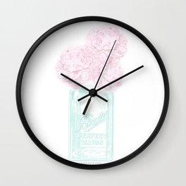 Pink Peonies in a Mason Jar Wall Clock