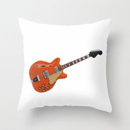 Hollow Body Guitar Throw Pillow
