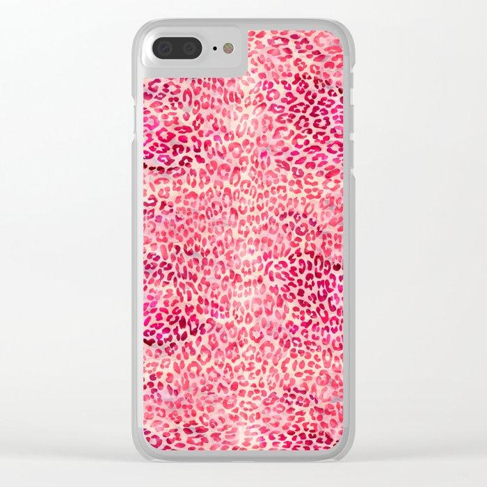 Pink Leopard Print Clear iPhone Case