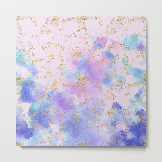 Lavender teal swirls gold Metal Print
