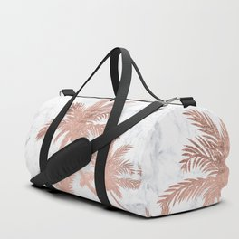 Tropical simple rose gold palm trees white marble Duffle Bag
