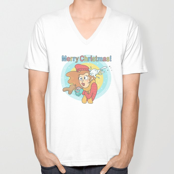 Merry Christmas Snowball Unisex V-Neck