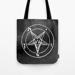 Satanic Pentagram - Black Watercolor Tote Bag