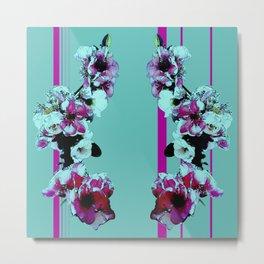 Hana Collection - Graphic Hot Pink and Teal Sakura Cherry Blossoms Metal Print