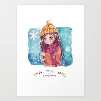 Merry Christmas, watercolor card 02 Art Print