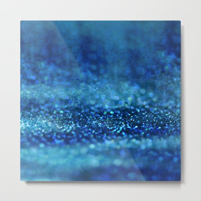 Aqua Glitter effect- Sparkling print in different blue Metal Print