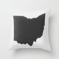 ohio state Throw Pillows featuring Ohio State Line by Beastie Toyz