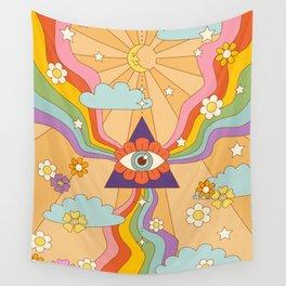 retro hippie boho rainbow print  Wall Tapestry