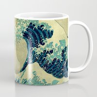 collage Mugs featuring The Great Blue Embrace at Yama by Kijiermono