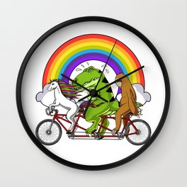 Unicorn Sloth T-Rex Dinosaur Riding Bicycle Wall Clock