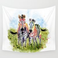 zebra Wall Tapestries featuring Zebra by Anna Shell