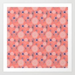 Caduceus in Coral Floral Art Print