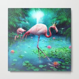 Flamingo King Metal Print