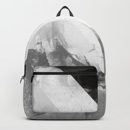 Marble black and white texture illustration art print gray scale Backpack