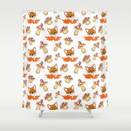 Cute foxes, fallen orange leaves and wild forest mushrooms seamless nature pattern. Fall season Shower Curtain