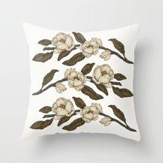 Magnolias Branch Throw Pillow