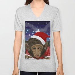 Christmas monkey Unisex V-Neck