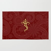 hindu Area & Throw Rugs featuring Maroon Ganesha - Hindu Elephant Deity by Enduring Moments