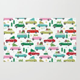 Christmas car tradition christmas trees holiday pattern winter festive Rug