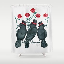 Ravens and Roses Red Shower Curtain