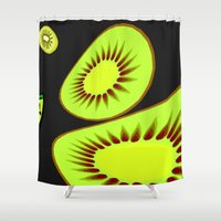 kiwi Shower Curtains featuring Kiwi by Trippin Up