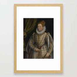 Lavinia Fontana PORTRAIT OF A LADY, THREE-QUARTER LENGTH, DRESSED IN A WHITE AND GOLD EMBROIDERED GO Framed Art Print