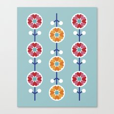 Scandinavian inspired flower pattern - blue background Canvas Print