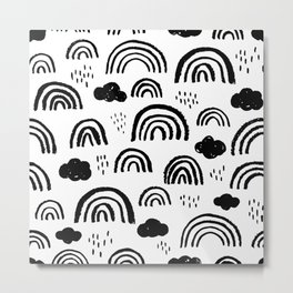 Black and white rainbow clouds Metal Print