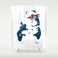 bulldog Shower Curtains featuring Bulldog by Matt Irving