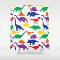 dinosaurs Shower Curtains featuring Dinosaurs - White by Dizana Designs