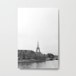 Eiffel Tower in the mist   Paris travel photography   Black and white art print Metal Print