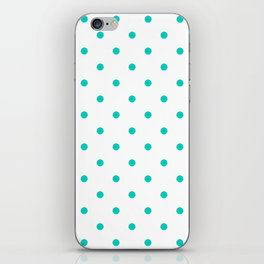 Aqua Small Polka Dots Pattern iPhone Skin