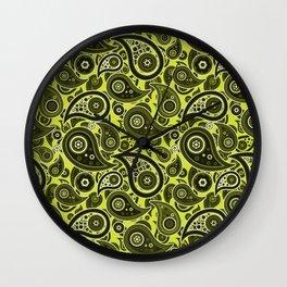 Pear Green Paisley Pattern Wall Clock